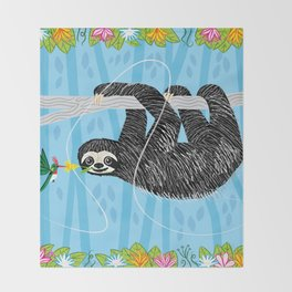 The Sloth and The Hummingbird Throw Blanket