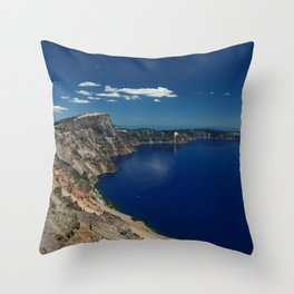 Crater Lake View with Caldera Rim Throw Pillow