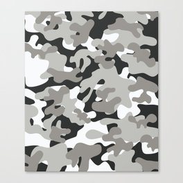 Grey Black White Camouflage Canvas Print