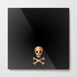 SKULL - BLACK & ROSE GOLD Metal Print
