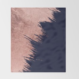 Navy blue abstract faux rose gold brushstrokes Throw Blanket