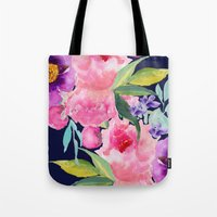 craftberrybush Tote Bags featuring Floral blue by craftberrybush