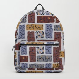 Brown and Grey Abstract Textured Shape Grid Backpack