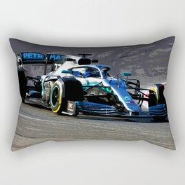Valtteri Bottas driving his 2019 Formula 1 car Rectangular Pillow