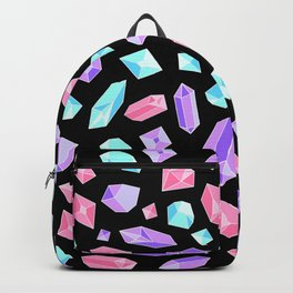 Pastel Crystal Pattern on Black Backpack