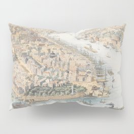 Vintage Pictorial Map of New York City (1852) Pillow Sham
