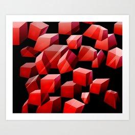 Red Cubes Art Print