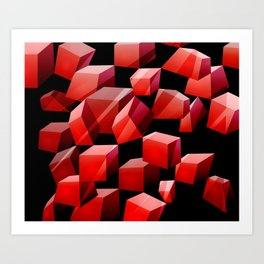 Red Cubes Art Print
