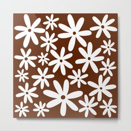Tiare Flower Brown Metal Print