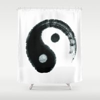 ying yang Shower Curtains featuring Ying & Yang by Simple Touch Apparel
