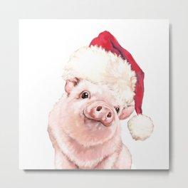 Christmas Pink Pig Metal Print
