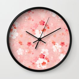 Peach pink Chinese cherry blossom Wall Clock