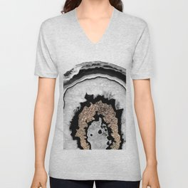 Gray Black White Agate with Gold Glitter #1 #gem #decor #art #society6 Unisex V-Neck