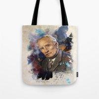 tolkien Tote Bags featuring J.R.R. Tolkien by Philipe Kling