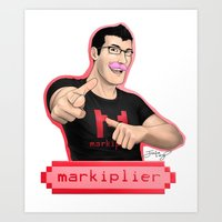 markiplier Art Prints featuring Markiplier (Warfstache) by that Random Person