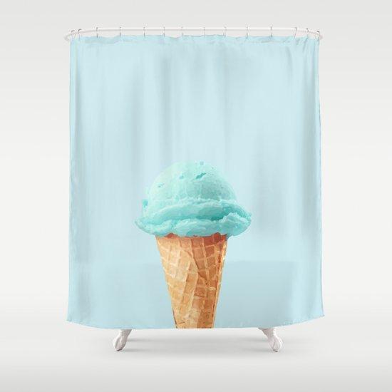 Blue Ice Cream Shower Curtain By Gaiadesign