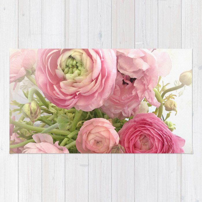 Shabby Chic Cottage Ranunculus Peonies Roses Floral Print Home Decor