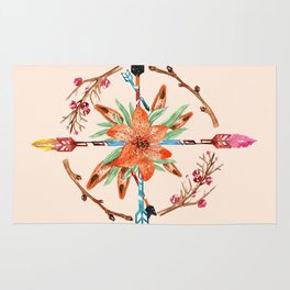 Watercolor Floral Compass Rug