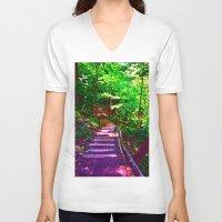 wander V-neck T-shirts featuring Wander by Lunar Eclipse
