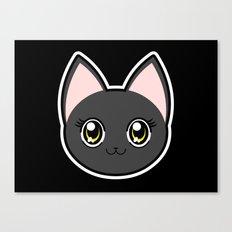 Black Anime Eyes Cat Canvas Print