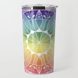 Pride Rainbow Gradient Mandala Travel Mug