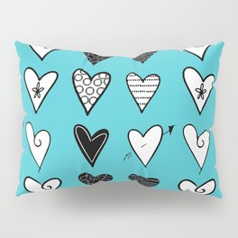 Baby Blue Heart Doodles Pillow Sham