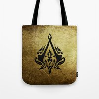 assassins creed Tote Bags featuring Creed Assassins Grunge Logo by DavinciArt