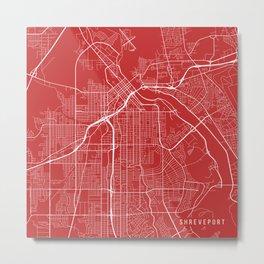Shreveport Map, USA - Red Metal Print