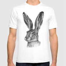 Cute Hare portrait G126 White LARGE Mens Fitted Tee