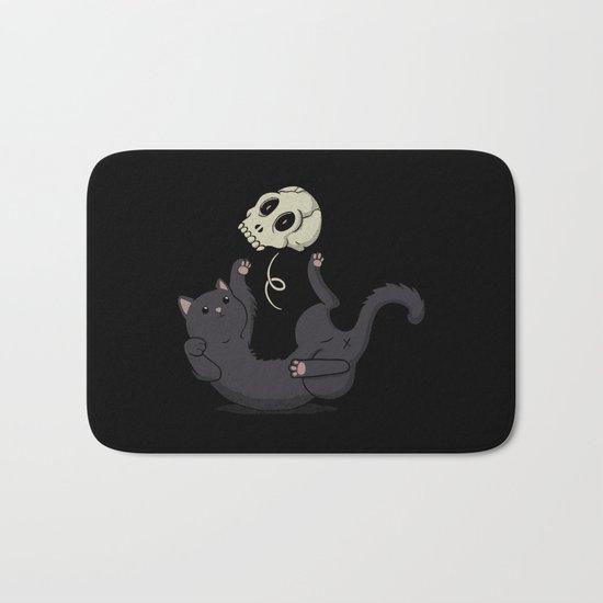 Skull Black Cat Bath Mat