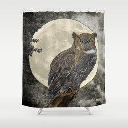 Rustic Great Horned Owl Bird Moon A271 Shower Curtain