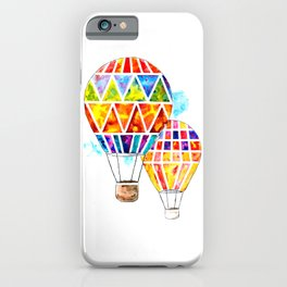 Hot Air Balloons Watercolor iPhone Case