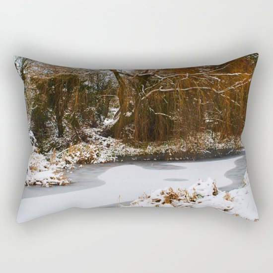 The Old Mill Stream in Winter Rectangular Pillow