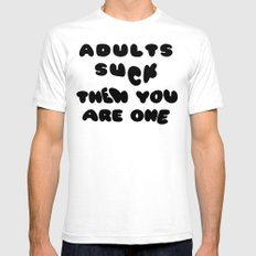 Adults Suck Fun Quote Text Design | Kawaii Fluffy Typography SMALL White Mens Fitted Tee