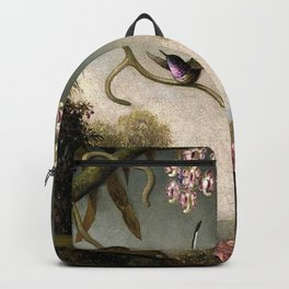 Orchids and Spray Orchids with Hummingbird by Martin Johnson Heade Backpack
