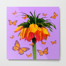 LILAC YELLOW MONARCH BUTTERFLIES CROWN IMPERIAL Metal Print