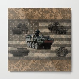 Stryker Military Vehicle Digital Camo Pattern American Flag Metal Print