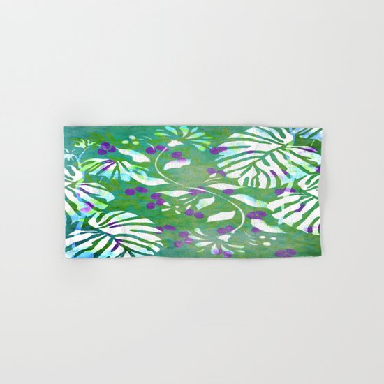 Tropical Flowers and Leaves Abstract  Hand & Bath Towel