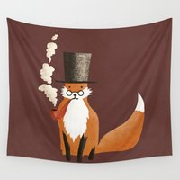 fancy Wall Tapestries featuring Fancy Fox by Eric Fan