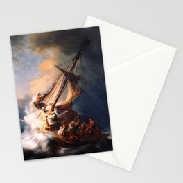 The Storm On The Sea Of Galilee Painting By Rembrandt Stationery Cards