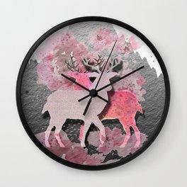 Pink deer Wall Clock
