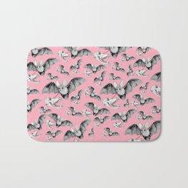 Skull Bat Pink Bath Mat
