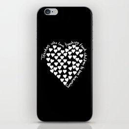 Hearts Heart Teacher White on Black iPhone Skin