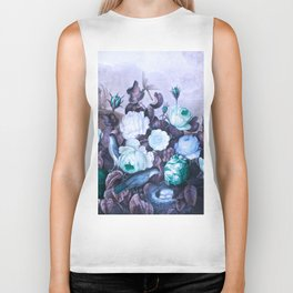 Teal Roses Blue Birds : Temple of Flora Biker Tank