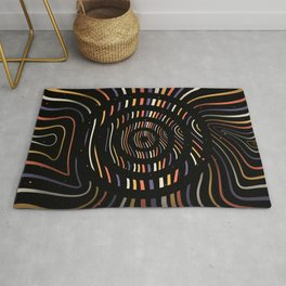 Color op art striped lines with circles Rug