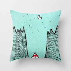 Clear Sky Camping Throw Pillow