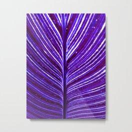 Feather Leaf in Purple Metal Print