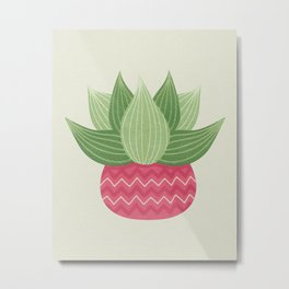 Watercolor Cactus Painting Metal Print