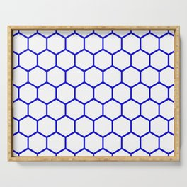 White and blue honeycomb pattern Serving Tray