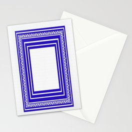 Blue and White Lines Geometric Abstract Pattern Stationery Cards
